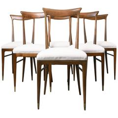 Ico Parisi Beautiful and Elegant Set of Six Dining Chairs
