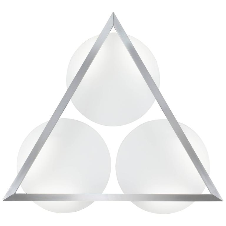 Mid-Century Modern Style Wall Art Sconce Light White Glass with Triangular Frame