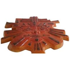 1970s Great Wall Sculpture Sun, Made Out of Orange Glass Fibre, Signed