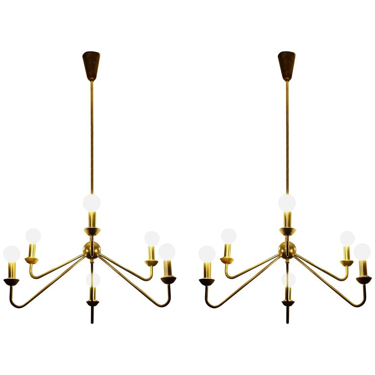 Pair of Brass Chandeliers, Robert Caillat, circa 1955 For Sale