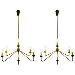 Robert Caillat Pair of Brass Chandeliers circa 1955