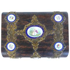J.A. Simpson & Co Lap Desk with Gilt Bronze and Painted Porcelain Plaques