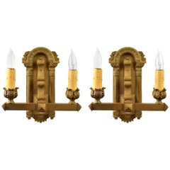 Two-Arm Cast Iron Sconce, Pair