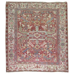 Antique Square Persian Heriz Rug, Early 20th Century