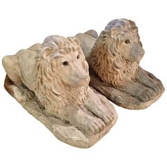 Pair of English Stone Lions