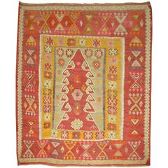 Turkish Kilim Square Flat-Weave