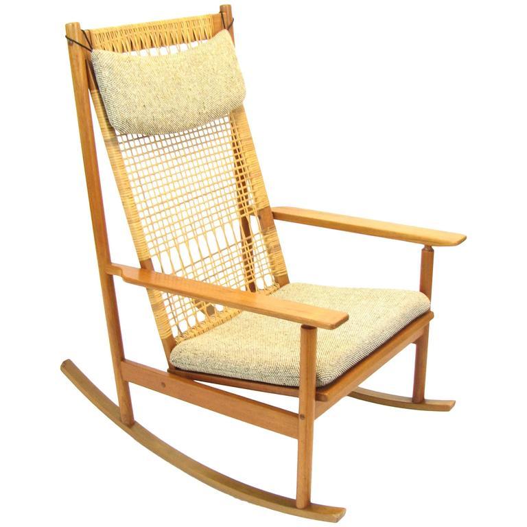 Danish Teak and Cane Rocking Chair by Hans Olsen for Brdr Juul-Kristensen 1