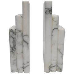 Pair 1970s Modern Italian White and Black Marble 'Book' Bookends