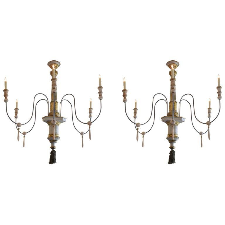 Pair of Large Painted and Giltwood Louis XVI Chandeliers, 18th Century and Later