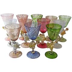 Twelve Salviati Murano Dragon Goblets, Handblown Venetian Glass
