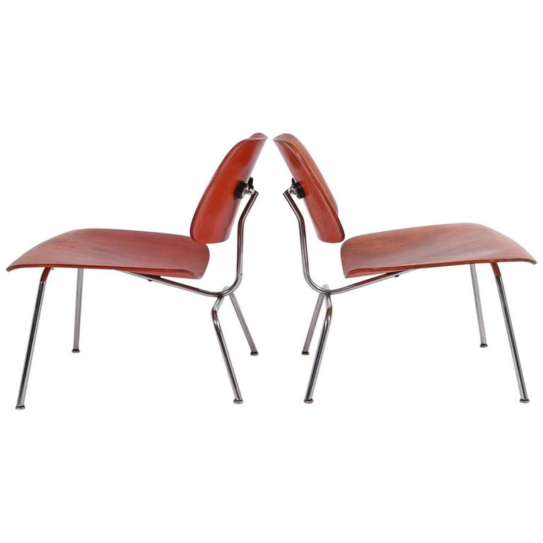 Early Pair of LCM Red Aniline Dyed by Charles Eames for Herman Miller
