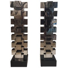 Oversized Pair of C. Jeré/Artisan House Chrome Table Lamps
