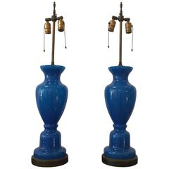 Pair of French Blue Opaline Table Lamps by Marbro Lamp Co.