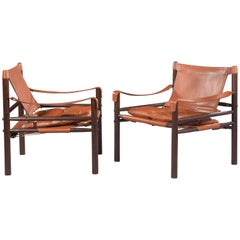 "Great Pair of Rosewood ""Sirocco"" Safari Chairs by Arne Norell"