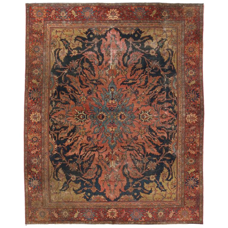 Antique farahan rug with modern industrial style persian for Modern area rugs for sale