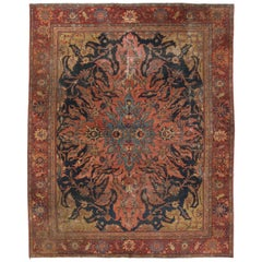 Antique Farahan Rug with Modern Industrial Style, Persian Area Rug