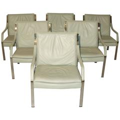 Six Preben Fabricius & Jørgen Kastholm Attributed Lounge Chairs by Knoll Germany