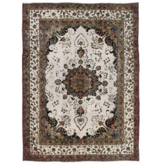 Distressed Antique Persian Mahal Rug with Modern William and Mary Style
