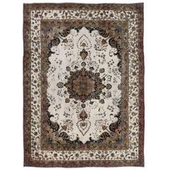 Distressed Antique Persian Rug with Modern Industrial Farmhouse Style