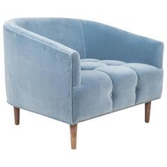 Art Deco Style St Bart's Accent Chair Tufted in Light Blue Velvet w/ Walnut Legs