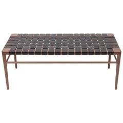 """Walnut and Leather 44"""" Handmade Bench by Mel Smilow"""