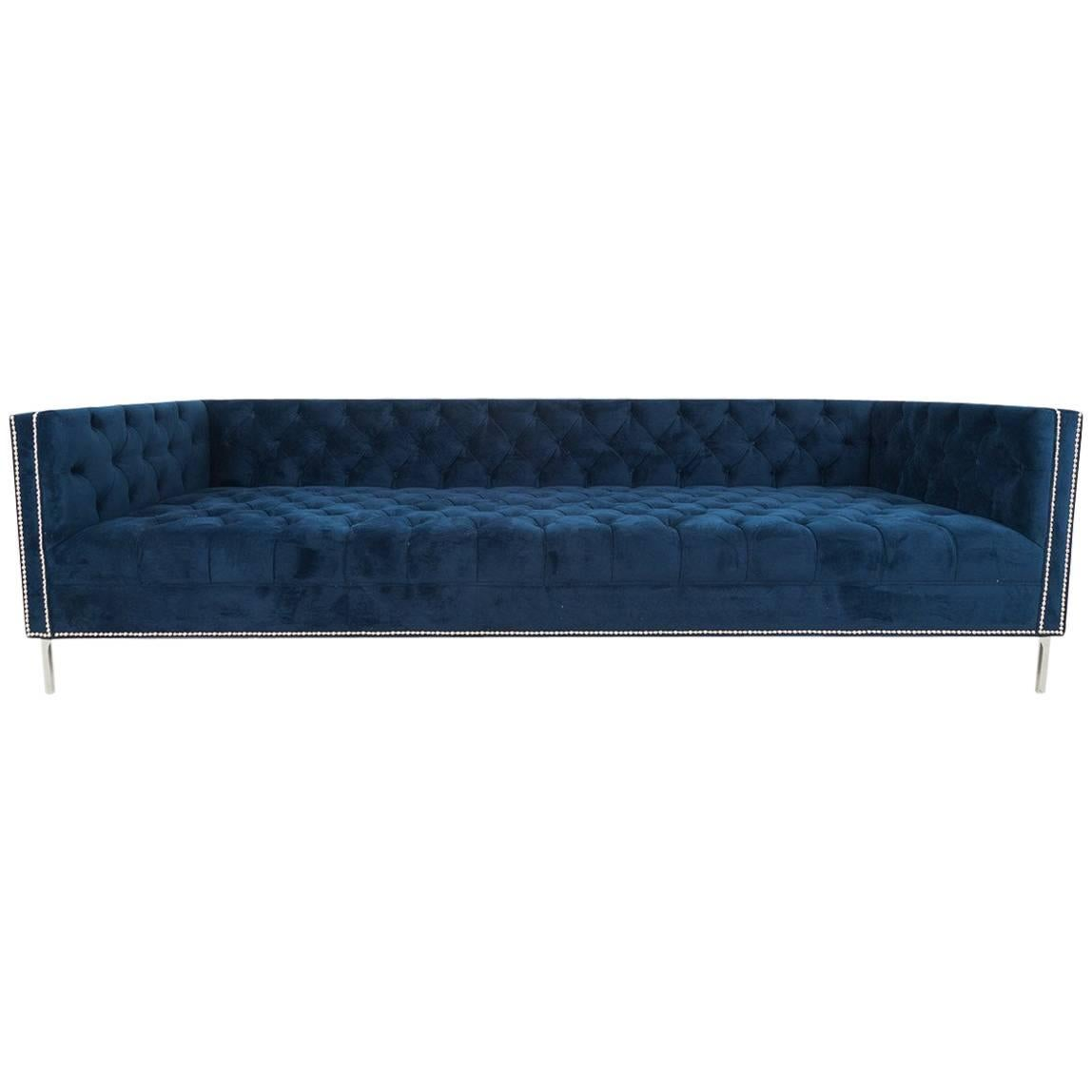 Extra Deep Mid-Century Style Sofa Hand Tufted in Navy Velvet w/ Chrome Legs