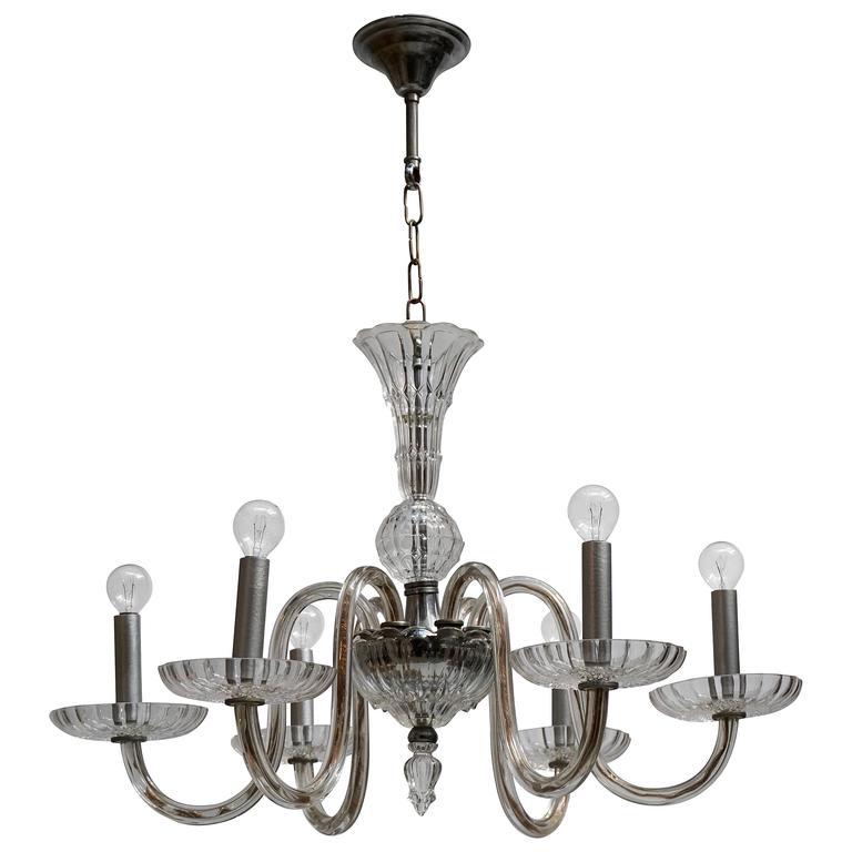 Venetian Glass Chandelier For Sale
