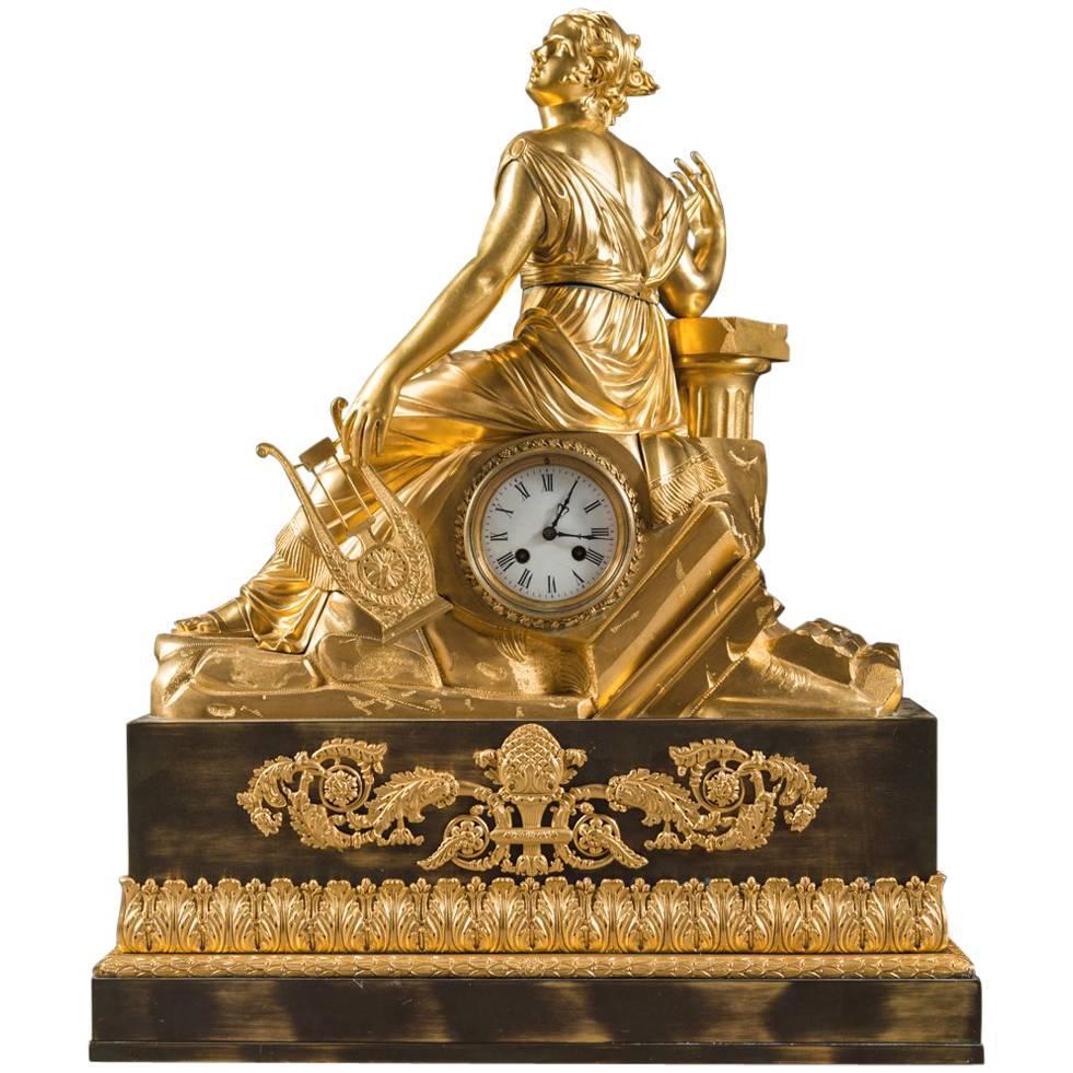 Large 19th Century French Gilt Bronze Figural Mantel Clock