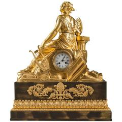 Fine and Large 19th Century French Gilt Bronze Figural Mantel Clock