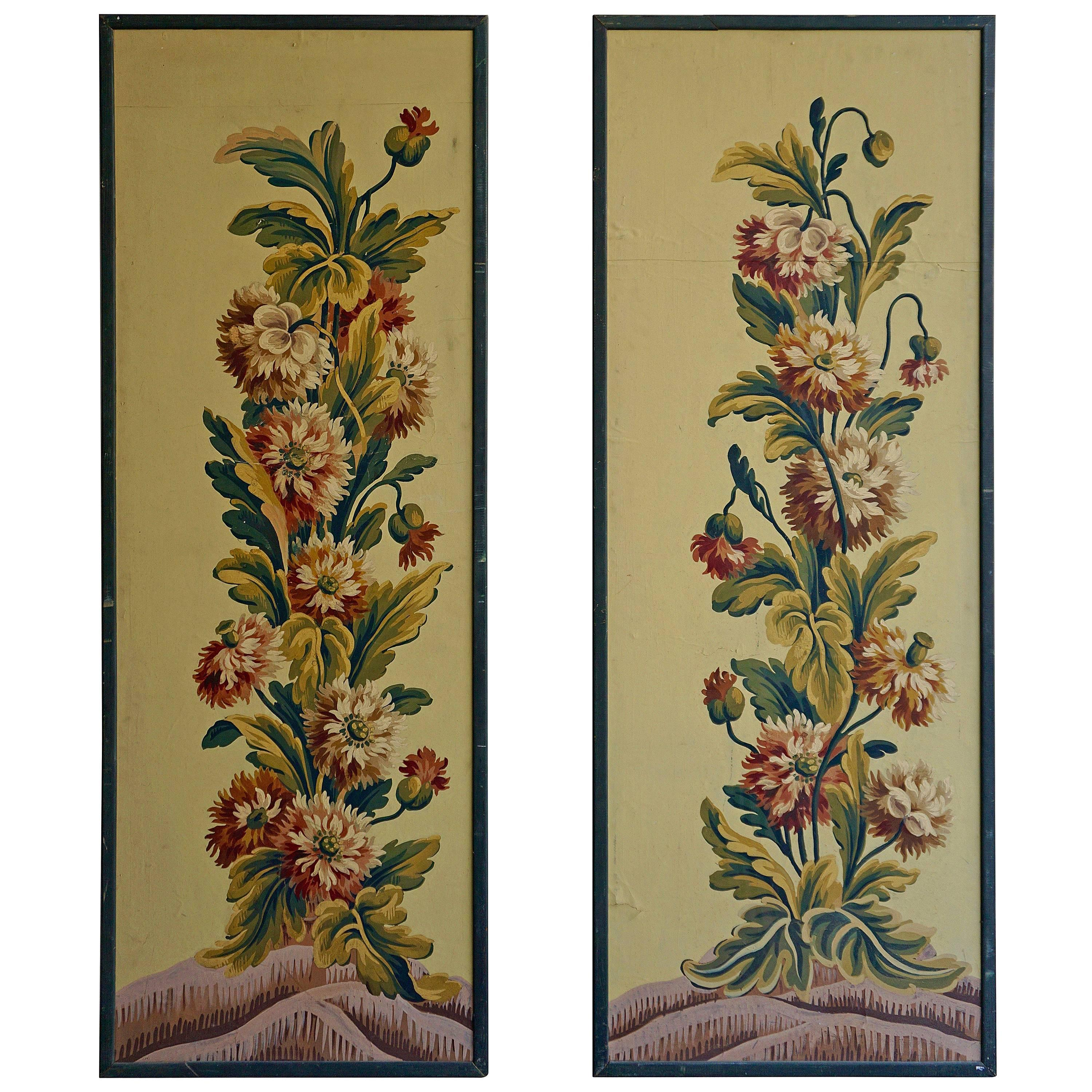 One of Two Framed French Painted Paper Panels