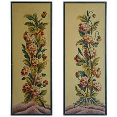 Pair of Framed French Painted Paper Panels