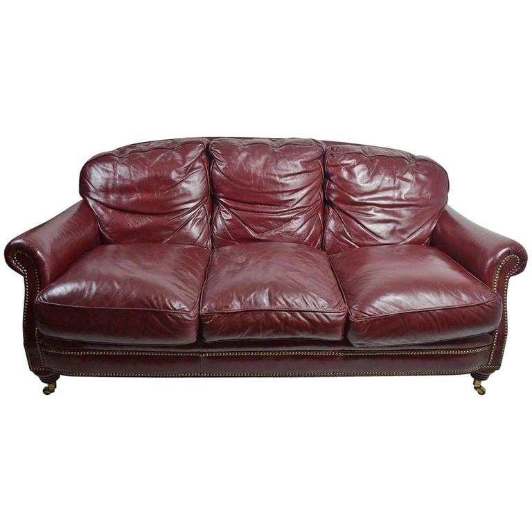 Classic Leather Sofa Couch For Sale at 1stdibs