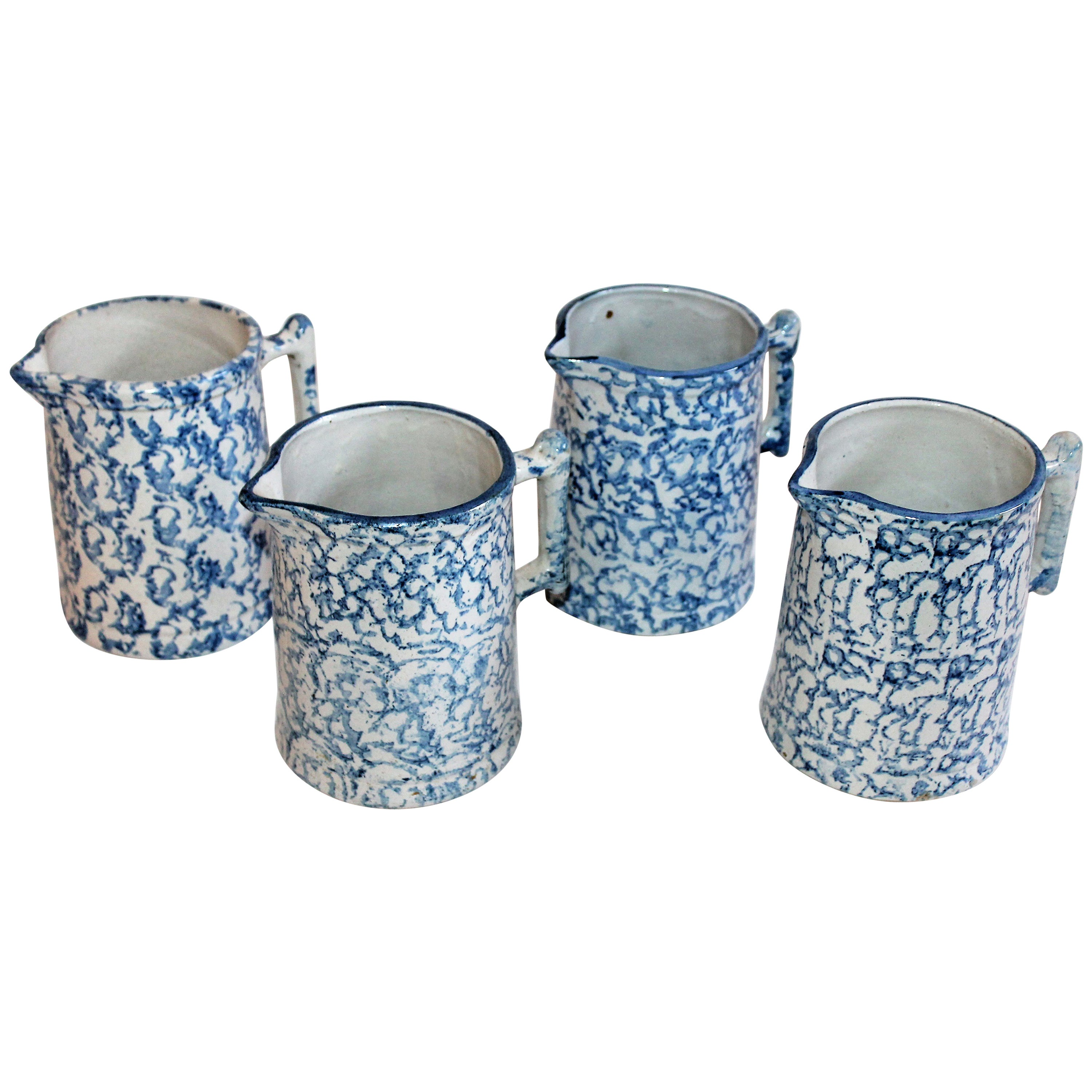 Collection of Four 19th Century Sponge Ware Milk Pitcher
