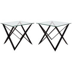 Set of Two Sculptural Side Iron Tables, Unique Set 1/1, California, 2016