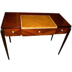 Petite Art Deco Desk, Vanity Ruhlmann Style Mahogany, Shagreen and Bone Inlay