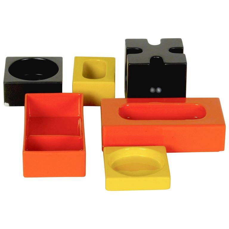 Six-Piece Ceramic Desk Set by Pierre Cardin 1