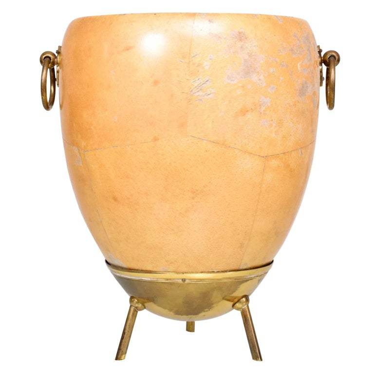 1950s Aldo Tura Goatskin and Brass Ice/Champagne Bucket, Midcentury