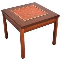 Brown Saltman Walnut Side Table with Enamel Top
