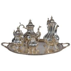 Antique English Style Silver Plated Five-Piece Tea Set