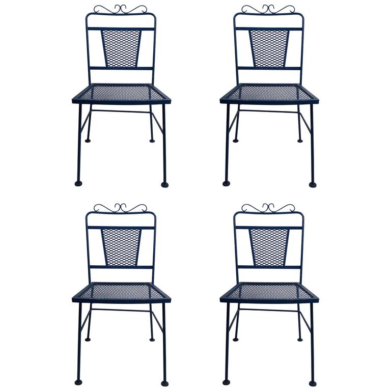 Set of Four Garden Patio Dining Chairs by Woodard For Sale