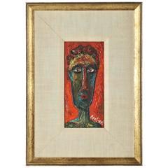 20th Century David Burliuk Neo-Primitive Portrait
