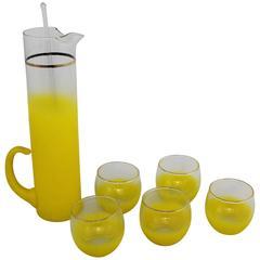 Blendo Sunshine Yellow Cocktail Beverage Set Vintage Mid-Century Modern