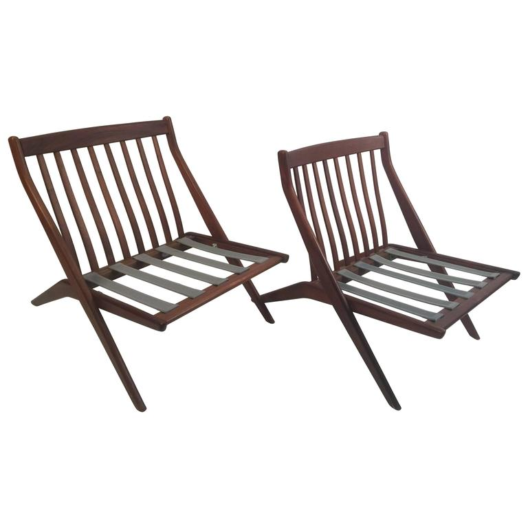 Pair of Folke Olhsson DUX Scissor Chairs For Sale