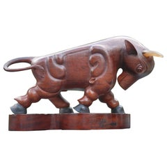 Stunning Early 1900s Modernist Hand-Carved Solid Teakwood Bull with Signature