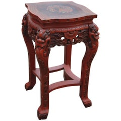 Antique Japanese Carved Wood Red Lacquered Vase or Plant Pedestal Stand / Table