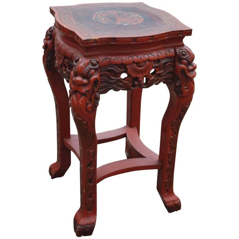 Antique Anese Carved Wood Red Lacquered Marked Table Stand Painted Dragon