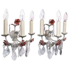 Pair of Italian Wall Sconces Painted Tole & Crystal, Italy, 1940s