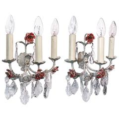 Pair of Italian Painted Tole Three-Light Sconces