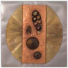 Abstract Metal Wall Sculpture Panel, USA, 1970s