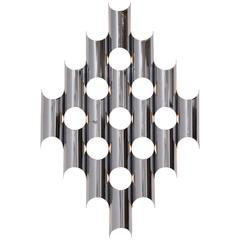 Large Chrome-Plated Sculptural Wall Light, USA, 1970s